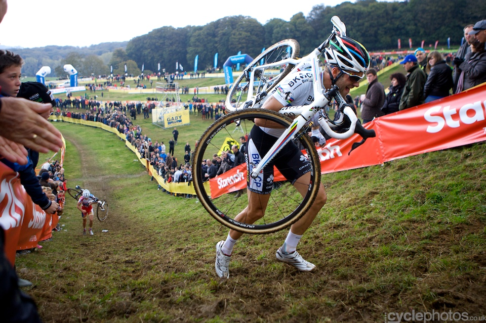 Niels Albert climbs a tough ascent during the first round of the Bpost Trofee cyclocross race in Ronse, Belgium.
