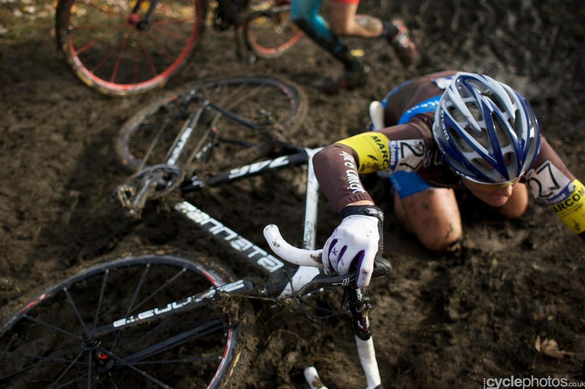 Nancy Bober fell on her knees on a tricky slope