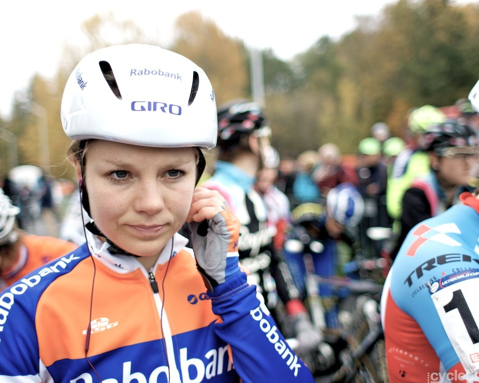 Sanne van Passen before the start of the first round of the cyclocross women's World Cup in Tabor, Czech Republic.
