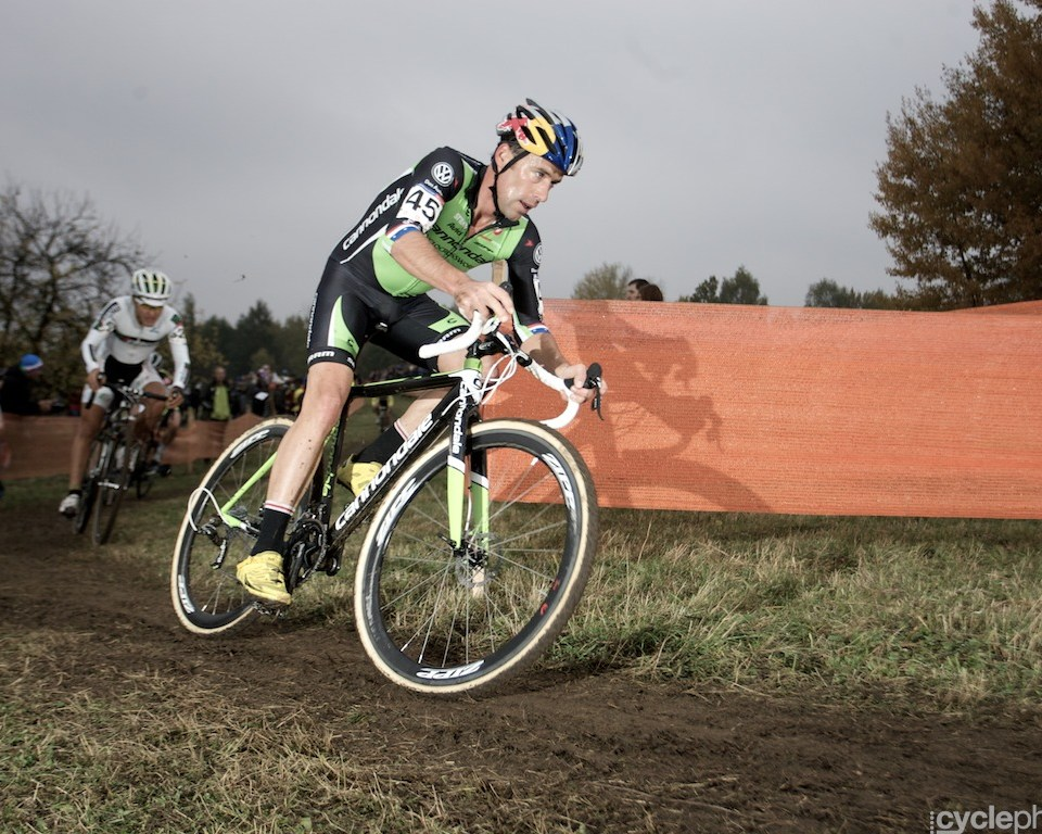 Tim Johnson during the first round of the cyclocross men's World Cup in Tabor, Czech Republic.