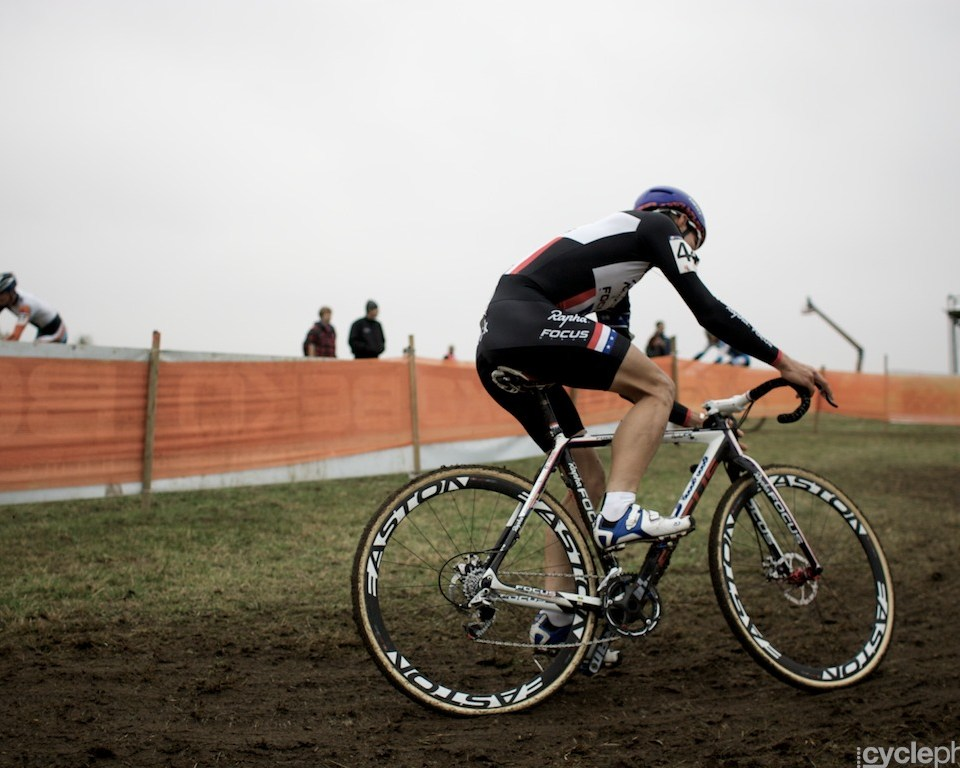Jeremy Powers corners during the first round of the cyclocross men's World Cup in Tabor, Czech Republic.