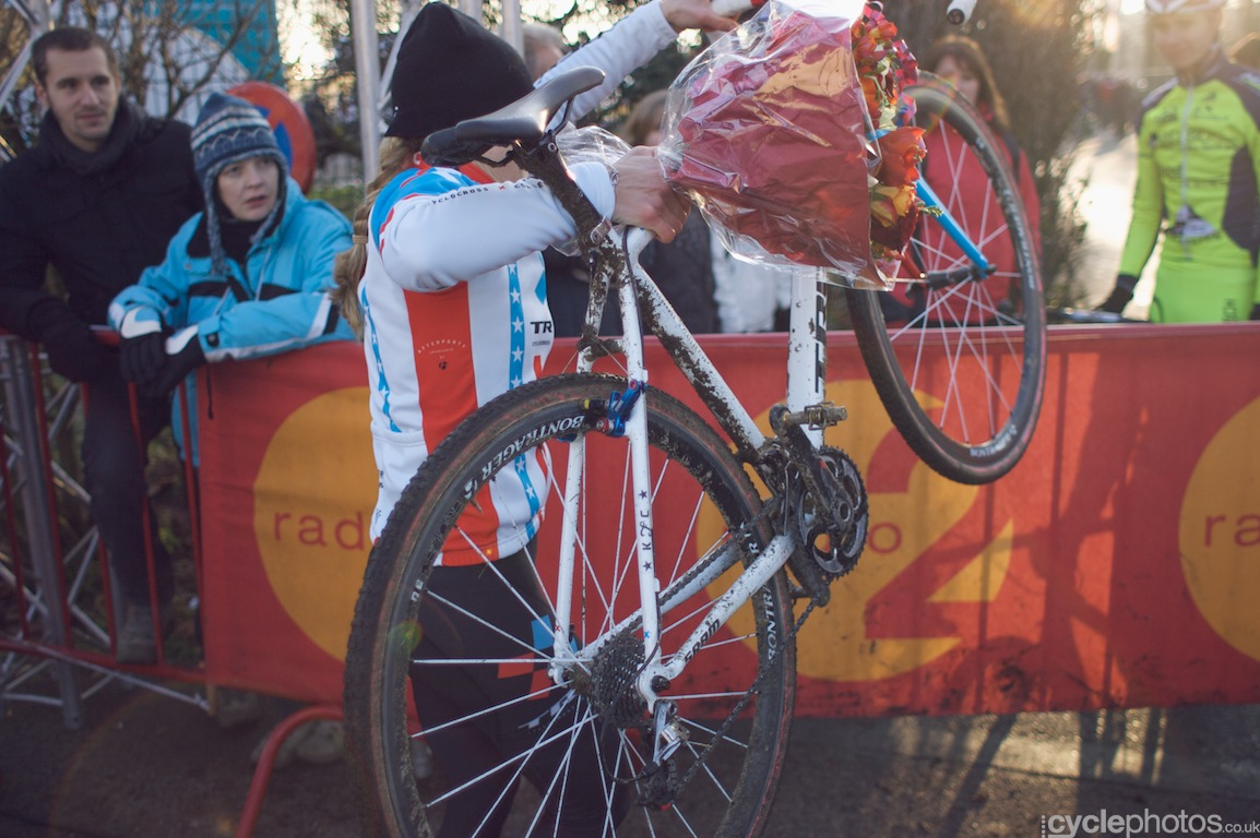 The organisers, in their infinite wisdom, didn't provide a clear passage onto the course, therefore every rider had to first throw their bikes through the barriers and then climb after it and it didn't matter if you were a first year U23 rider or Sven Nys, everybody had to climb over the barriers.