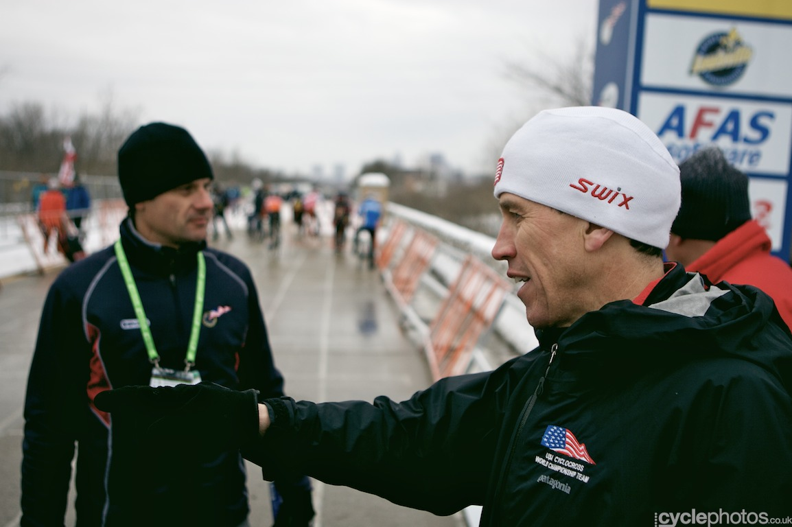 Geoff Proctor and Marc Gullickson chat before the juniors' race at the cyclocross World Championships in Louisville, Kentucky