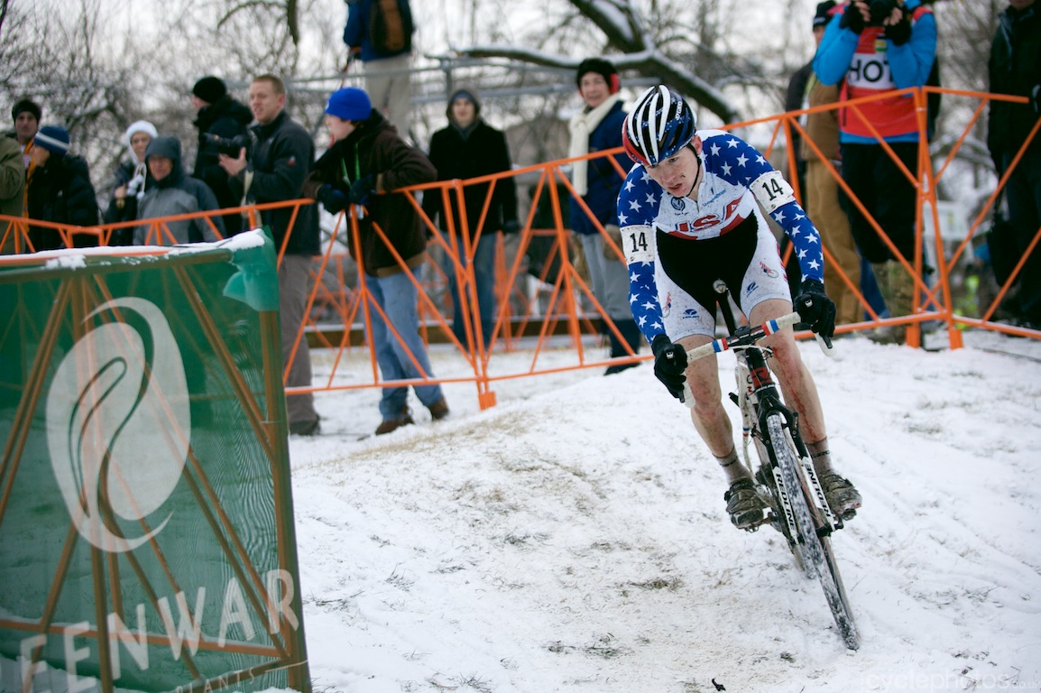 Owen Logan rides in the last lap of the cyclocross World Championships in Louisville, Kentucky