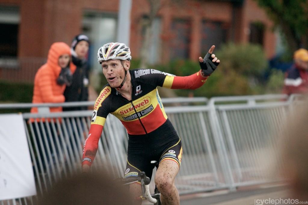 Klaas Vantornout can't believe that he has just won the elite men's  cyclocross Superprestige race in Ruddervorde.