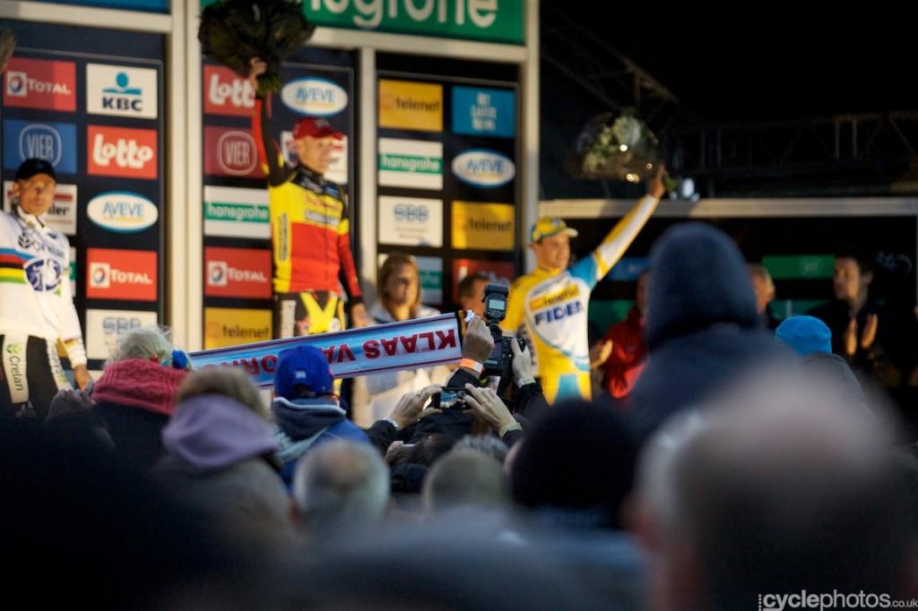 The podium of the elite men's  cyclocross Superprestige race in Ruddervorde, with winner Klaas Vantornout, Sven Nys and Tom Meeusen.