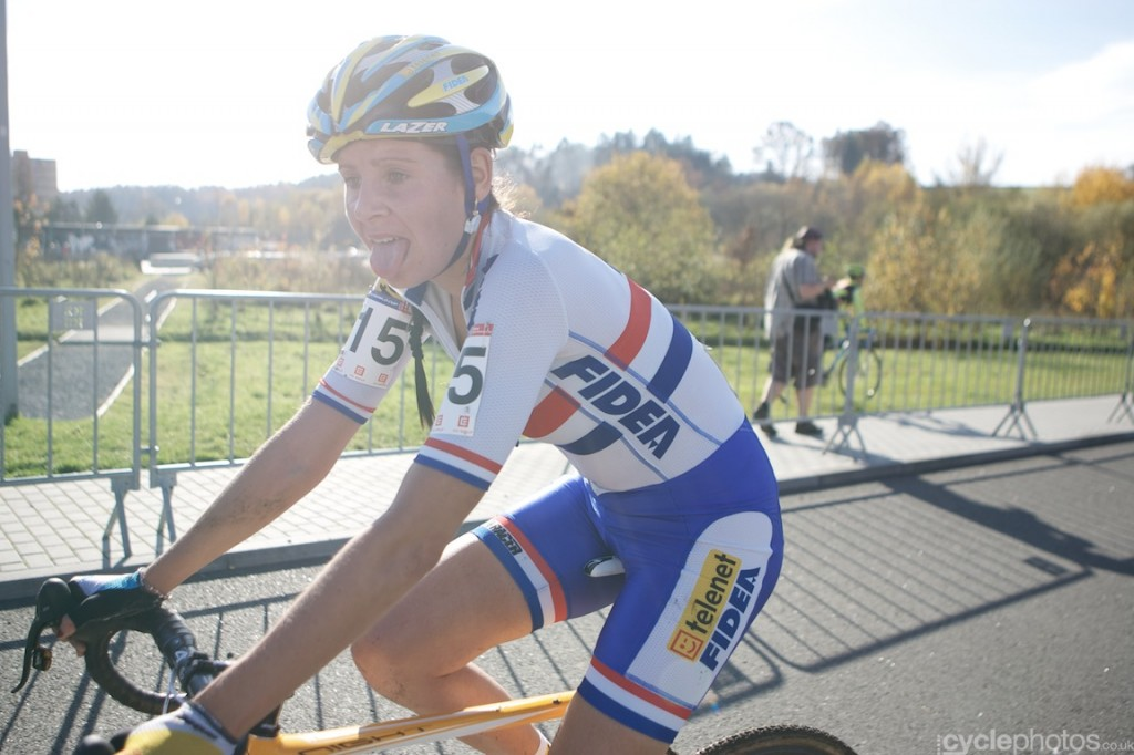 Nikki Harris, after finishing the elite women's cyclocross World Cup race in Tabor.