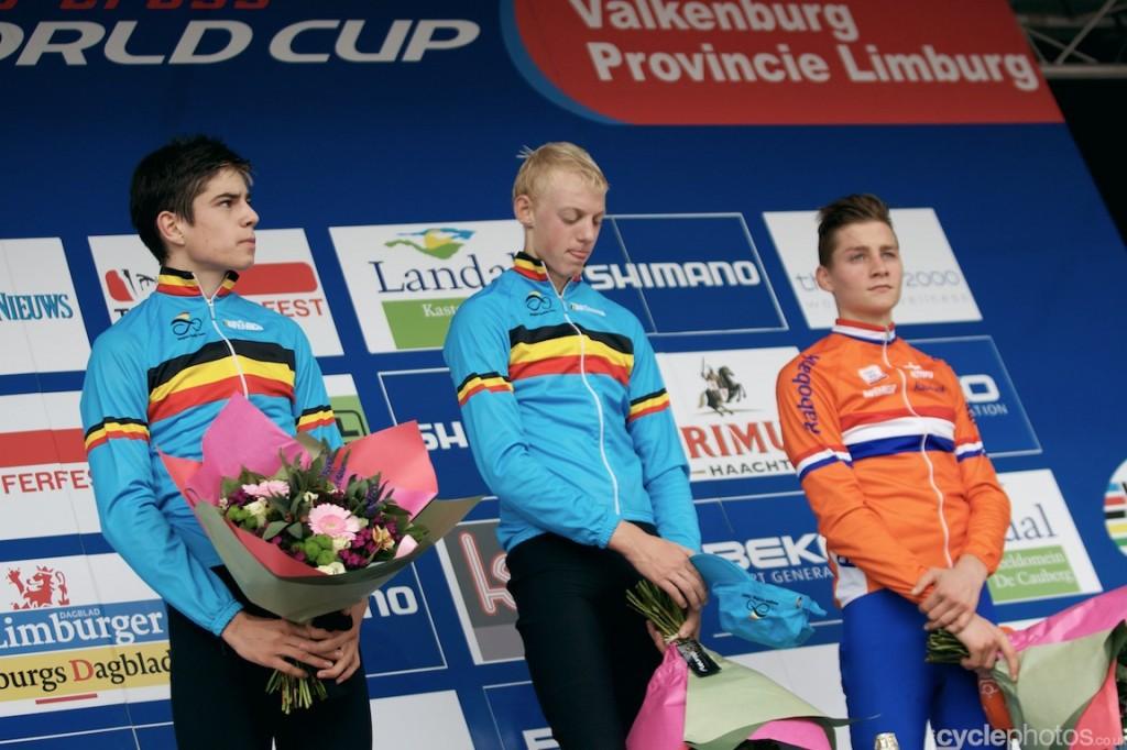 The U23 podium of the U23 cyclocross World Cup race at Valkenburg, with winner Michael Vanthourenhout, Wout van Aert and Mathieu van der Poel