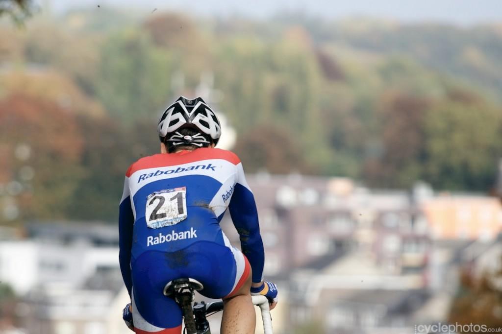 Lars van der Haar leads the race with over a minute in the sixth lap of the elite men's cyclocross World Cup race in Valkenburg
