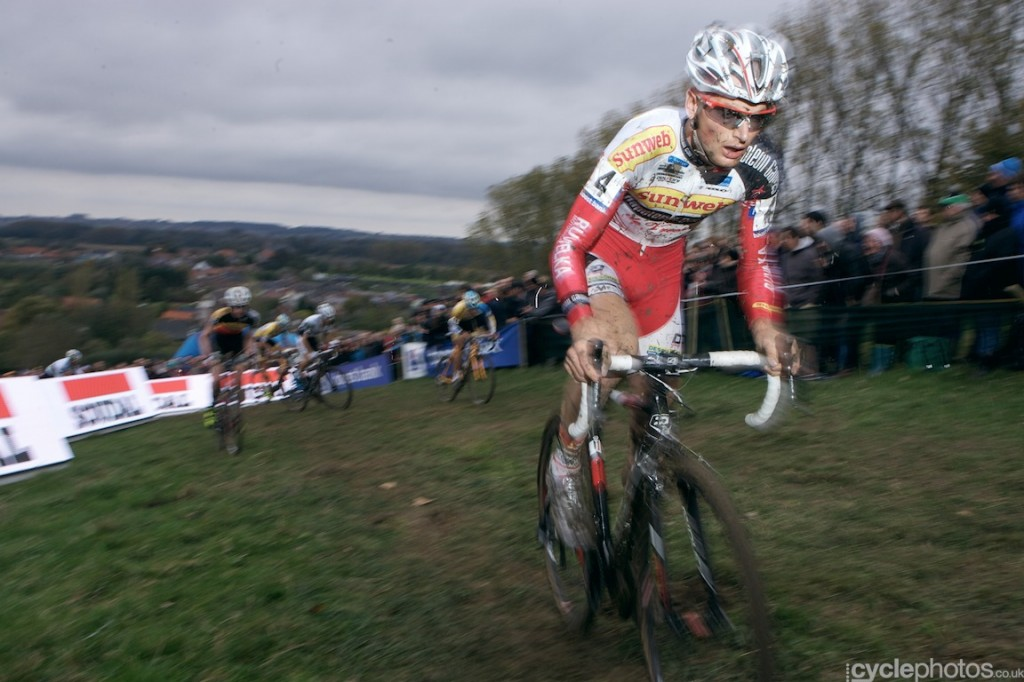 Kevin Pauwels rides in the penultimate lap of the elite men's cyclocross Bpost Bank Trofee race at Koppenberg.