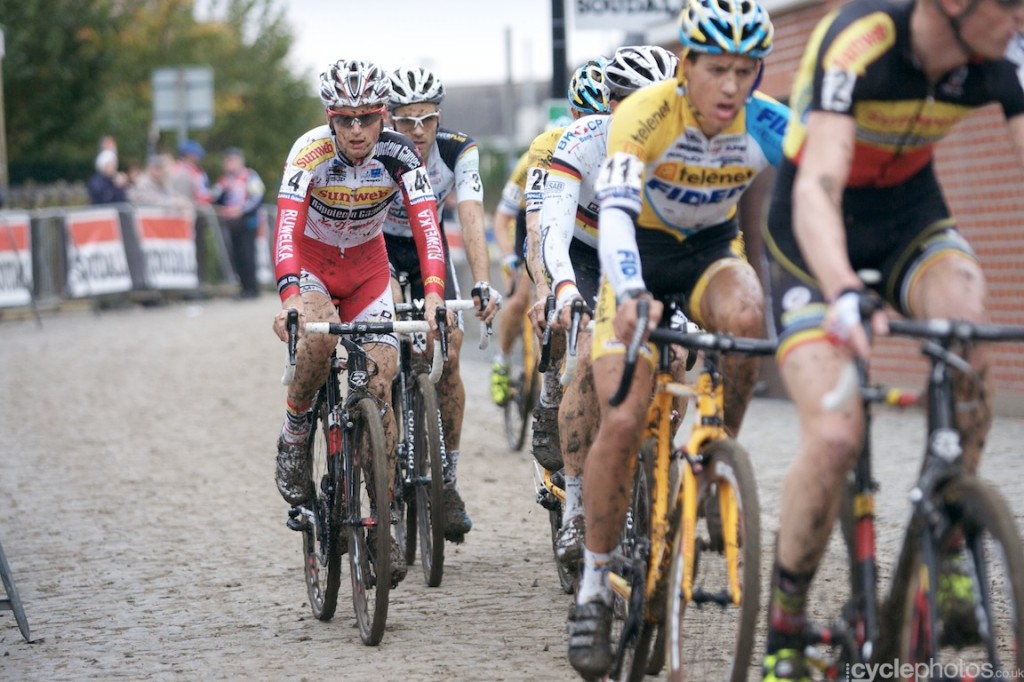 Kevin Pauwels rides in the last lap of the elite men's cyclocross Bpost Bank Trofee race at Koppenberg.