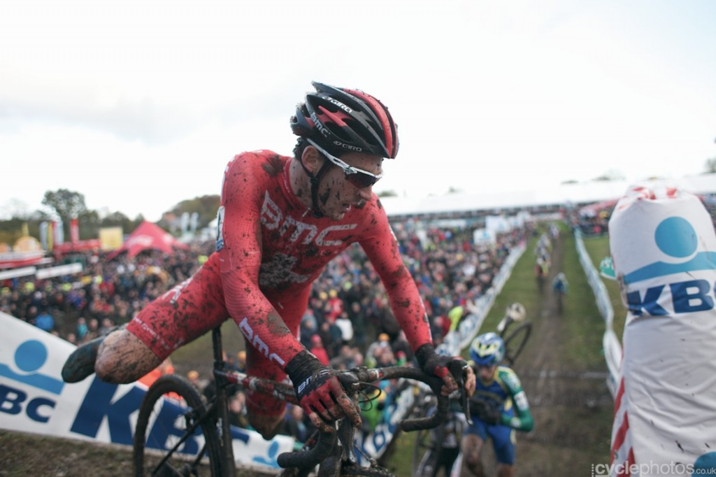 Julien Taramarcaz rides at the front in the first lap of the elite men's cyclocross Superprestige race in Hamme-Zogge