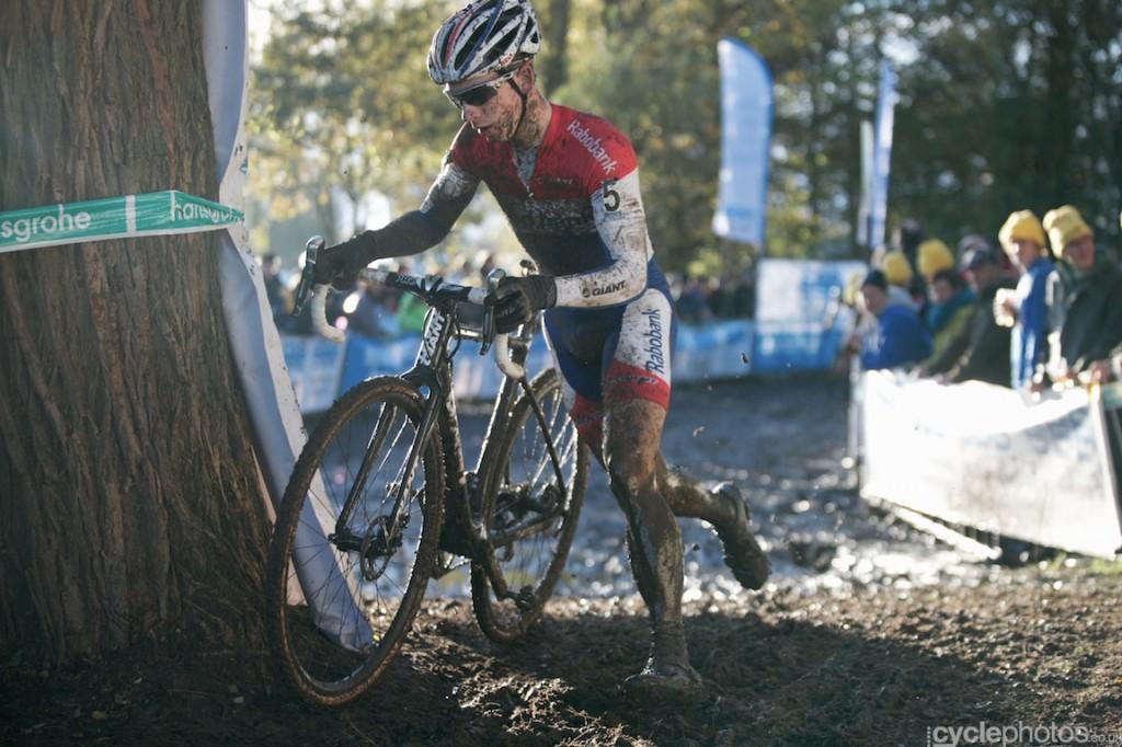 Lars van der Haar rides in the sixth lap of the elite men's cyclocross Superprestige race in Hamme-Zogge