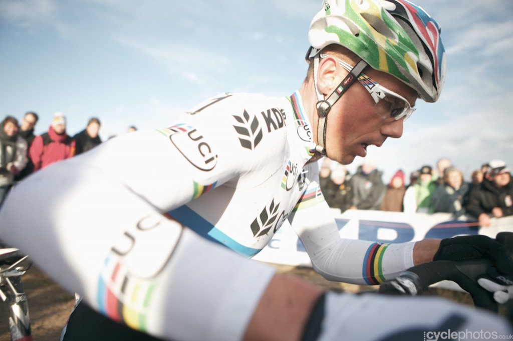 Sven Nys rides in the sixth lap of the elite men's Superprestige cyclocross race in Zonhoven.
