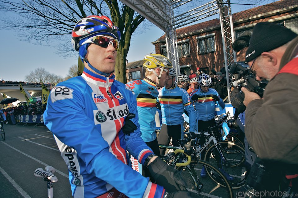 Zdenek Stybar waits on the start line, surrounded by the best of the Belgians.