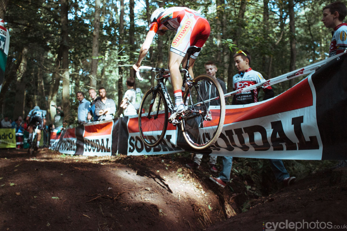 Kevin Pauwels jumps over a ditch in the last lap of the 2013 Soudal Classic cyclocross race in Neerpelt