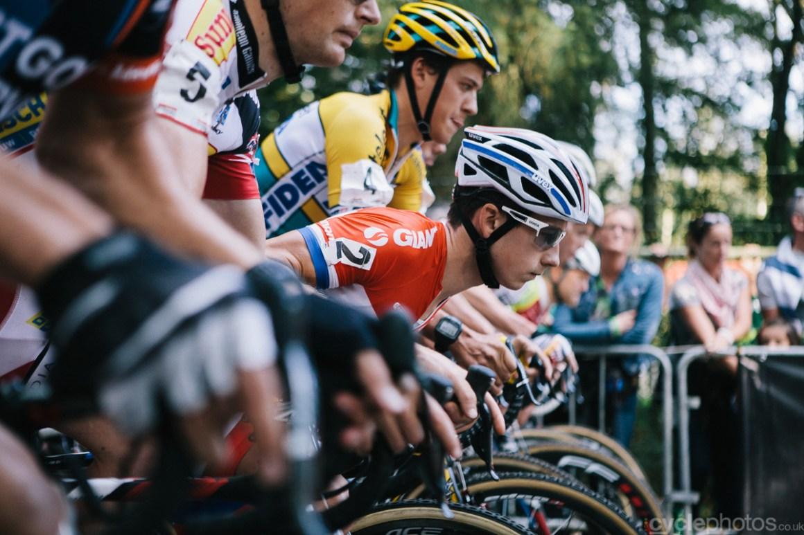 Lars van der Haar goes low before the Soudal Classics cyclocross race in Neerpelt.