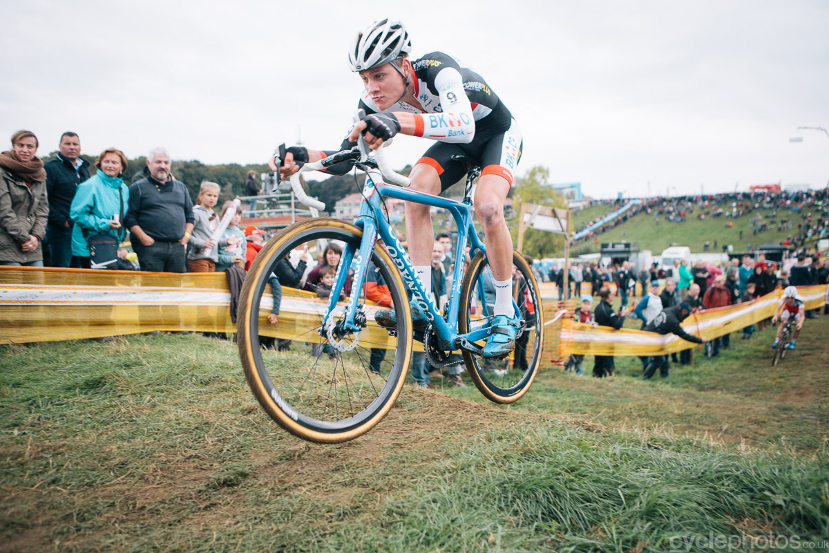 Mathieu van der Poel rides in the third lap of the Bpost Bank Trofee cyclocross race in Ronse. Photo by Balint Hamvas / cyclephotos.co.uk