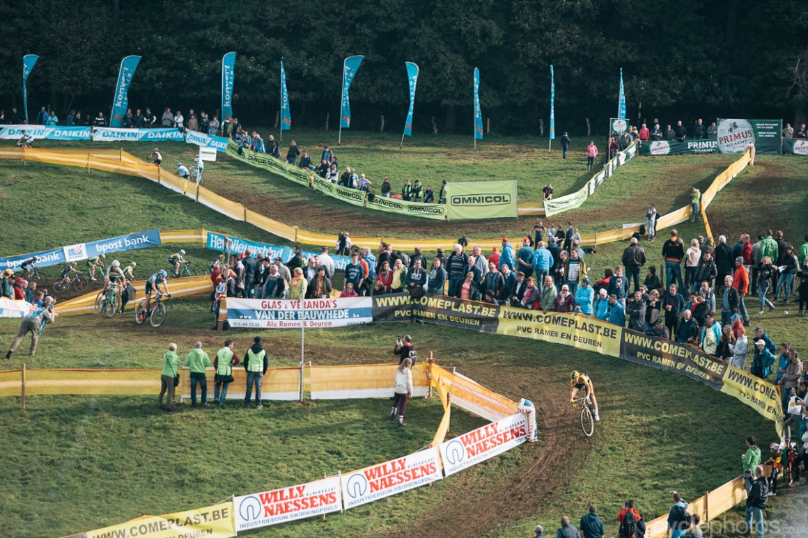 Nikki Harris leads the women's race in the second lap of the Bpost Bank Trofee cyclocross race in Ronse. Photo by Balint Hamvas / cyclephotos.co.uk