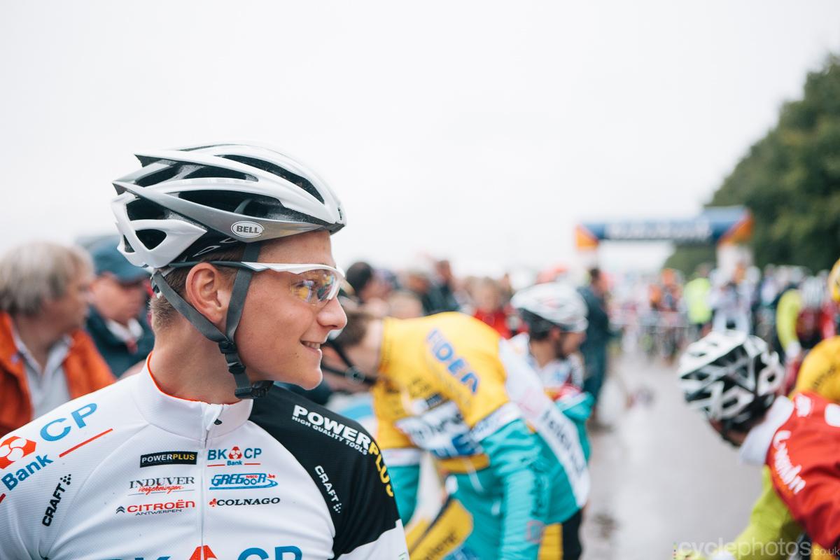 Mathieu van der Poel smiles before the Superprestige cyclocross race in Gieten, in 2014. Photo by Balint Hamvas / cyclephotos.co.uk