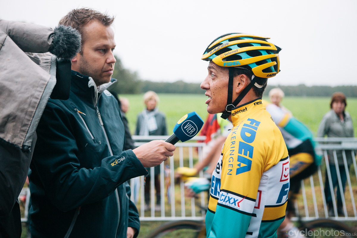 Tom Meeusen talks to tv channel Vier after the Superprestige cyclocross race in Gieten, in 2014. Photo by Balint Hamvas / cyclephotos.co.uk