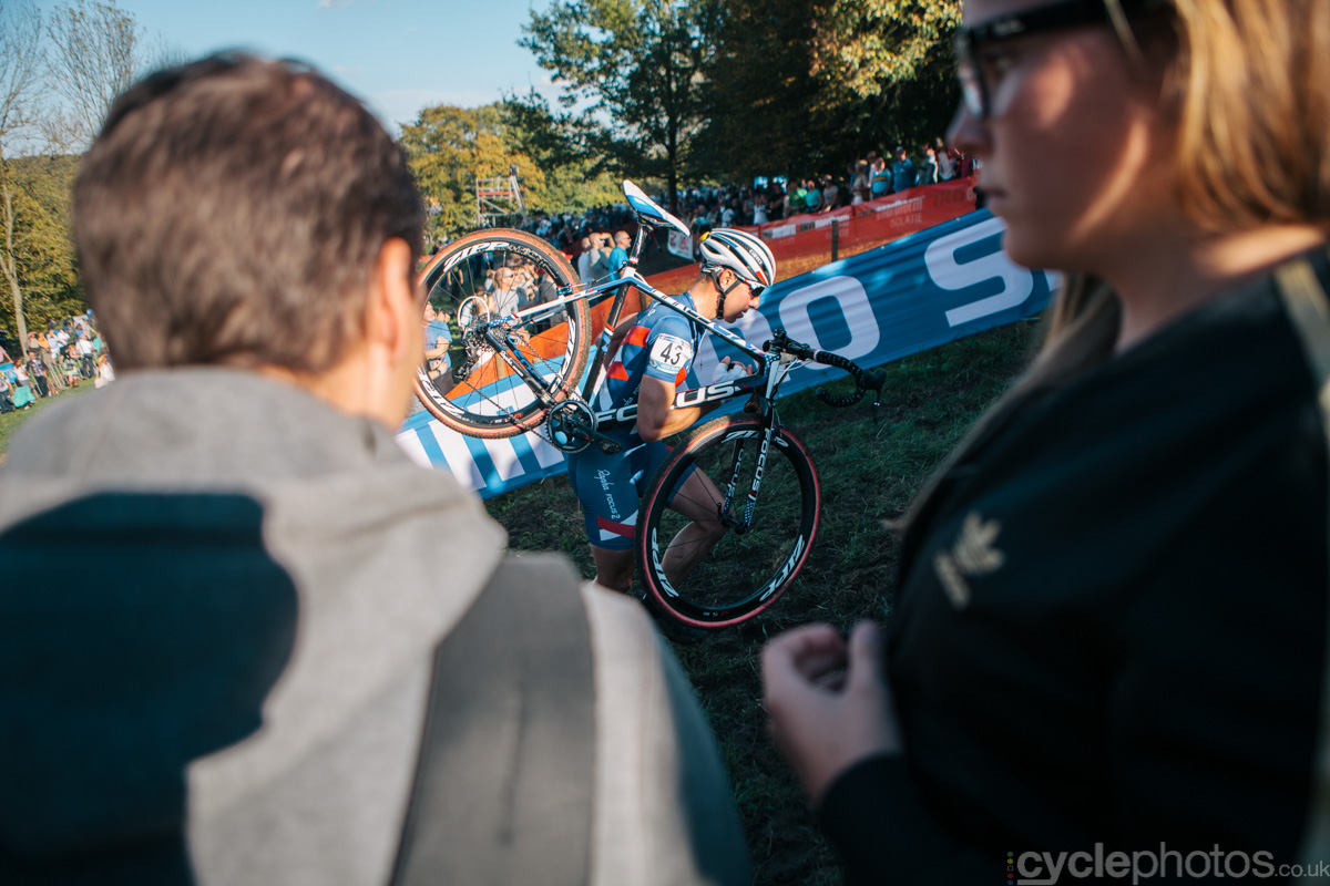 Jeremy Powers tackles one of the run ups  in the second lap of of the first cyclocross World Cup race of the 2014/2015 season in Valkenburg.