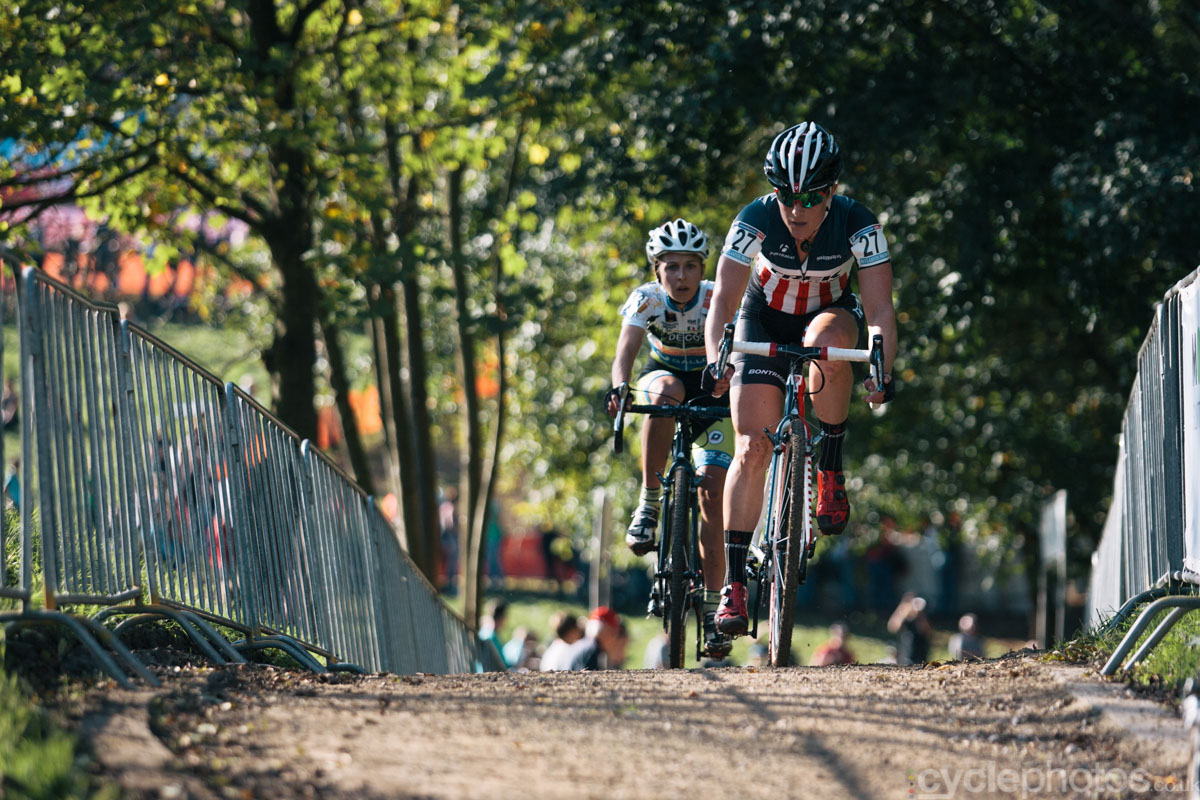 Katie Compton moves up in the field after a bad start at of the first cyclocross World Cup race of the 2014/2015 season in Valkenburg.