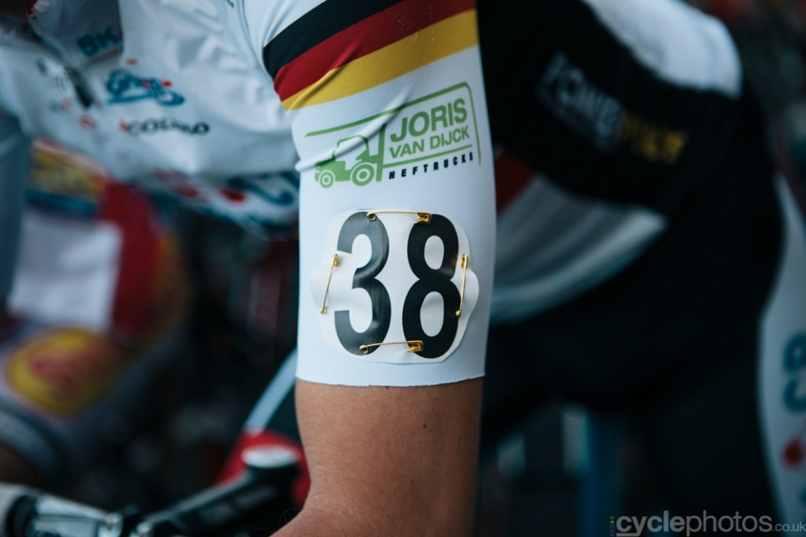 Philipp Walsleben before the of the first cyclocross World Cup race of the 2014/2015 season in Valkenburg.
