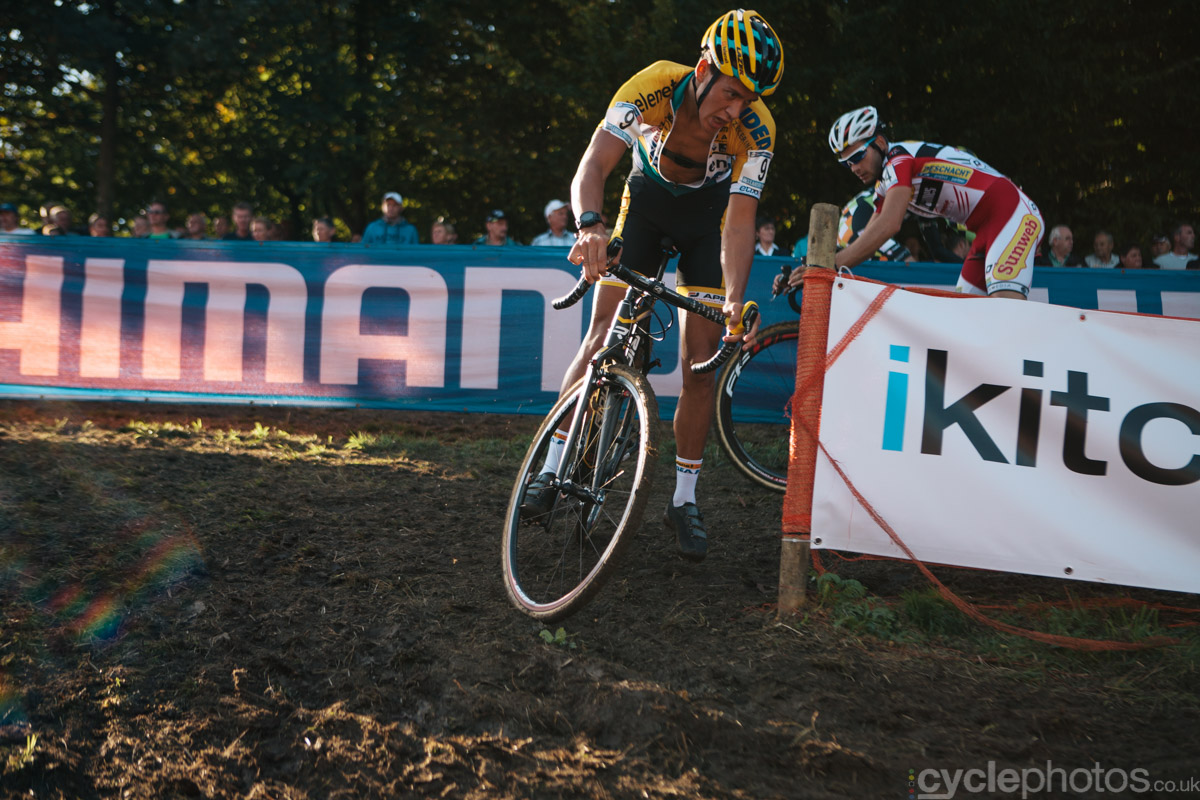 Tom Meeusen corners in the second lap of of the first cyclocross World Cup race of the 2014/2015 season in Valkenburg.