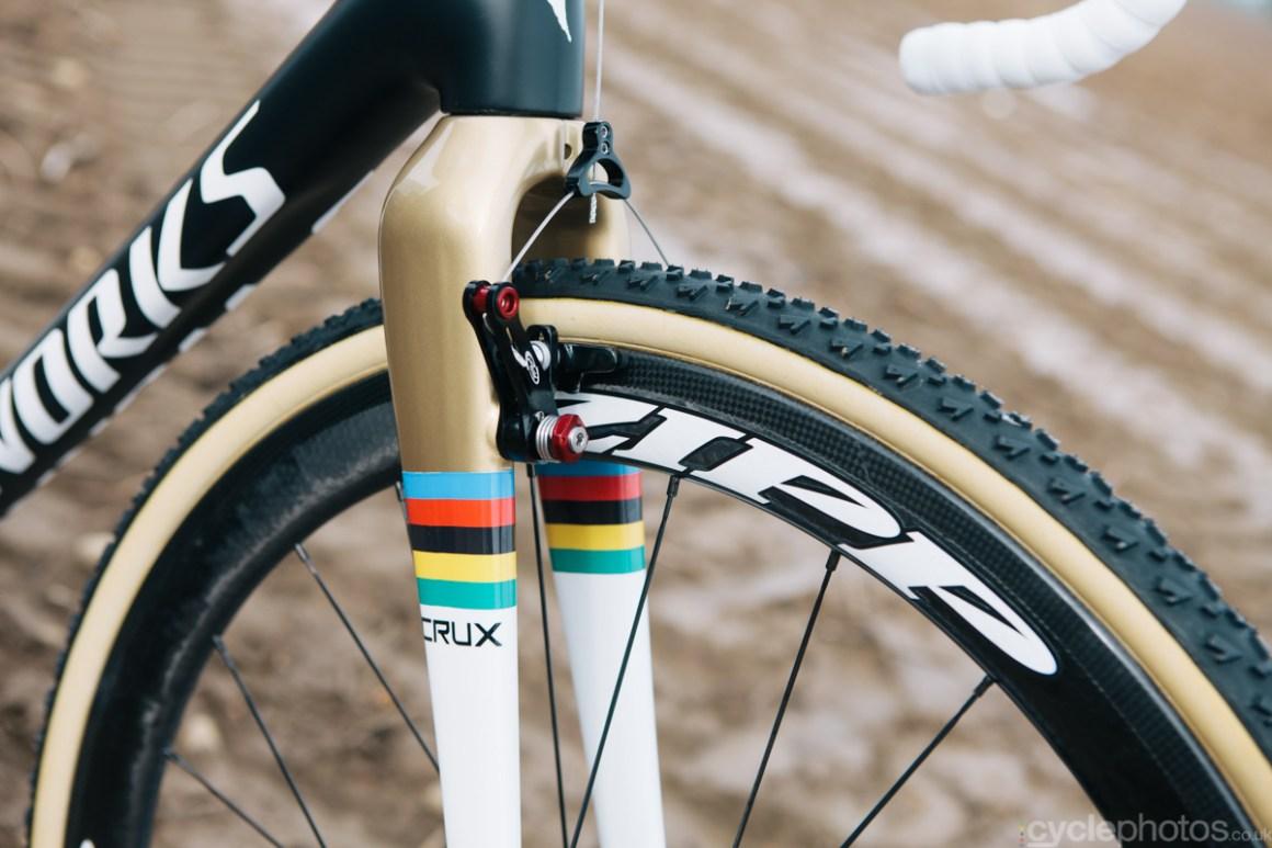 Zdenek Stybar's Specialized Crux cyclocross bike before the Bpost Bank Trofee race in Ronse, in 2014.