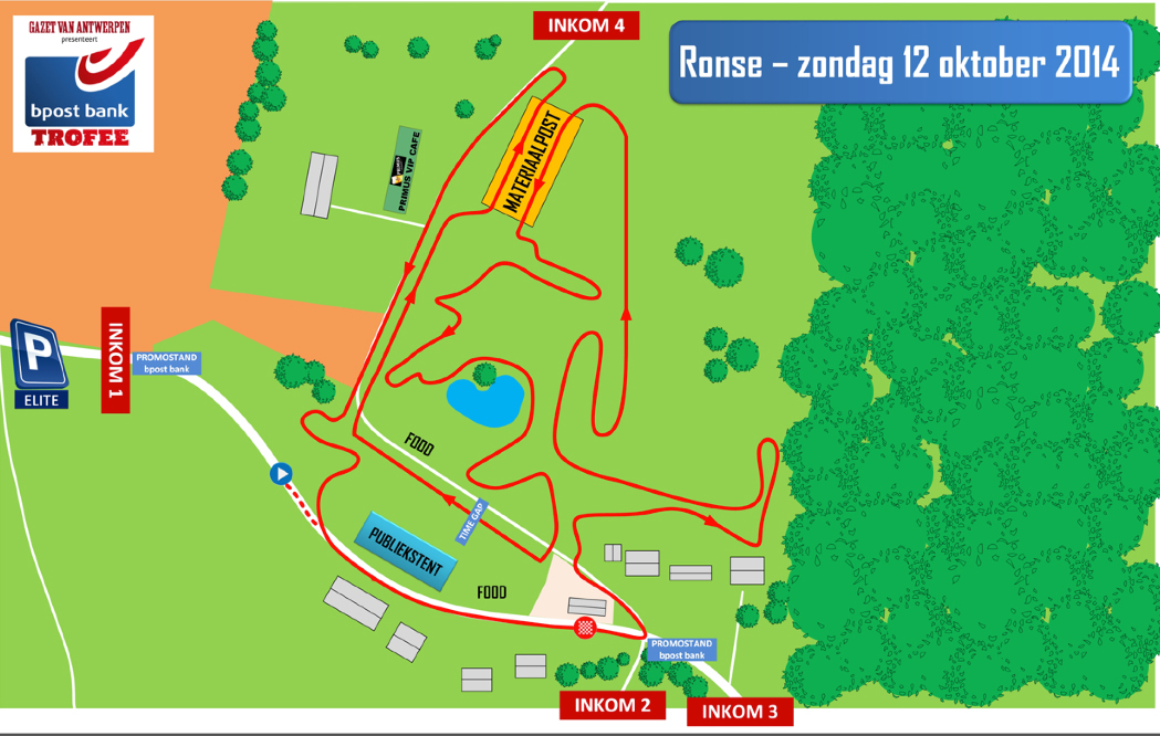 Map of the Ronse Bpost Bank Trofee cyclocross race