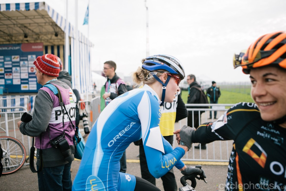 Magalie Rochette shares congratulates Crystal Anthony, after a gruelling race
