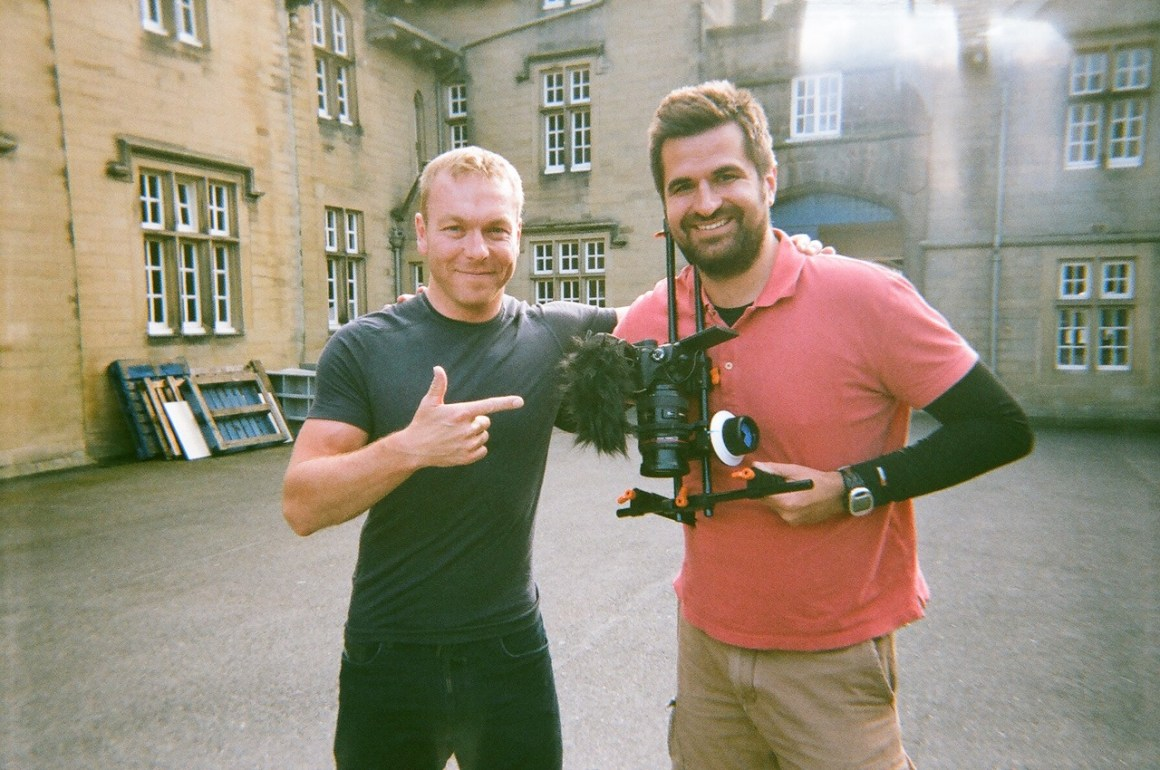 My ex-colleague at Evans Cycles, Gareth, gave me a call in August, asking me if I was around in September for a day, to shoot a video about the HOY100 sportive. I said yes, and after having worked with him for almost a year, I've had my first photo taken with Chris Hoy.