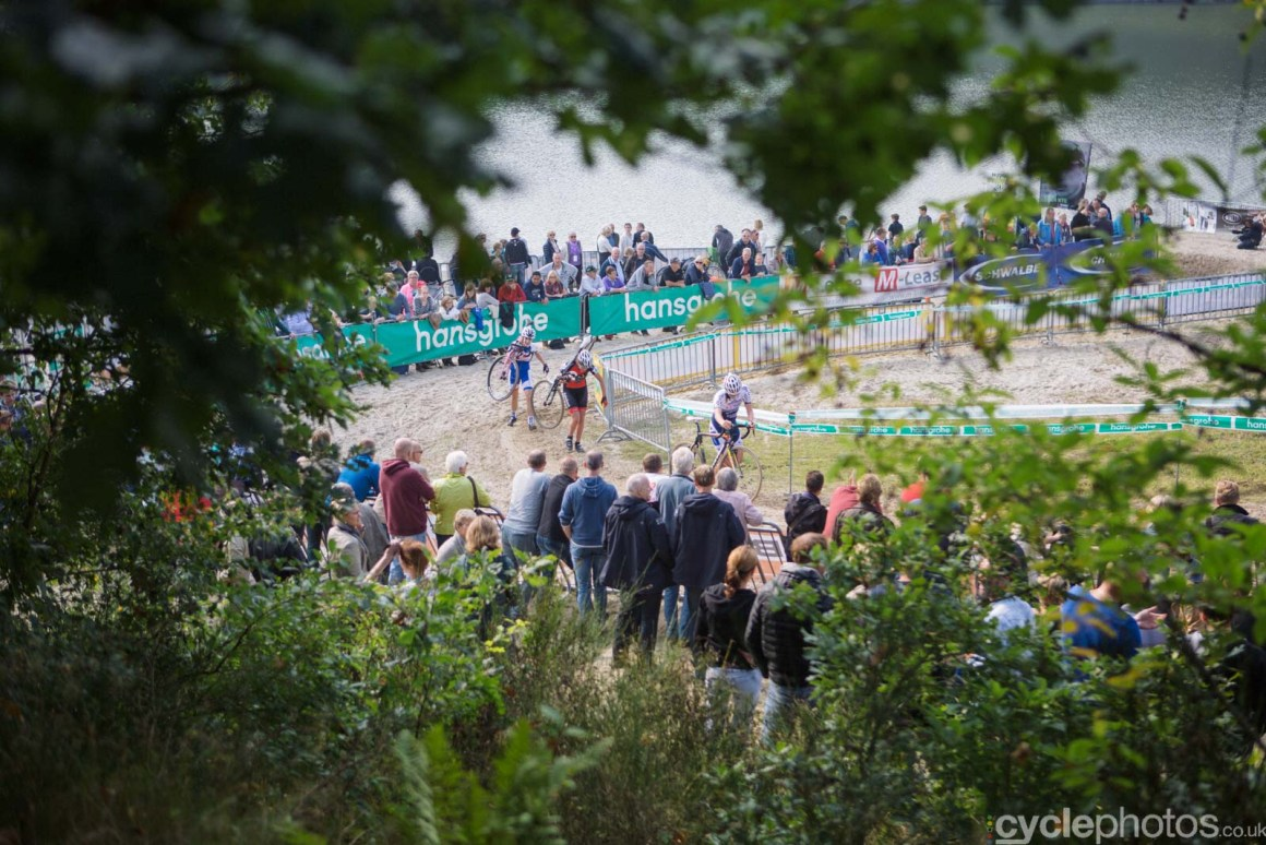 Riders in the third lap of the women's Superprestige race in Gieten, The Netherlands. All rights reserved. �Balint Hamvas / Cyclephotos