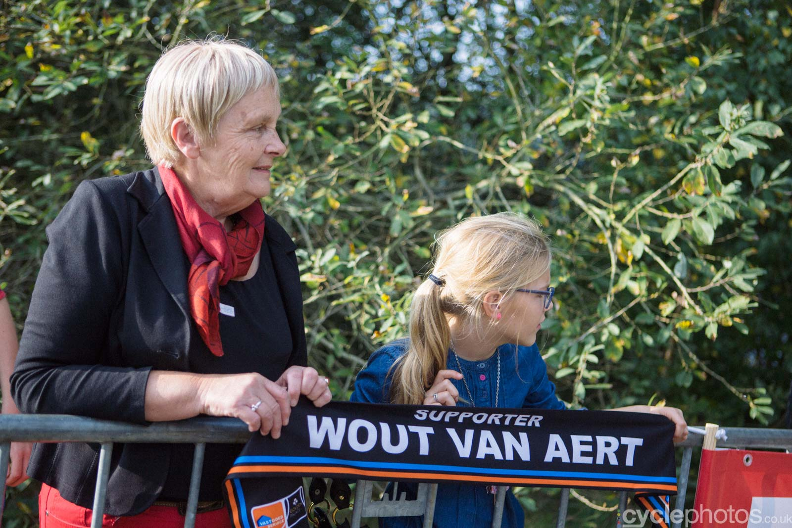 Wout Van Aert supporters wait for their favourite rider.