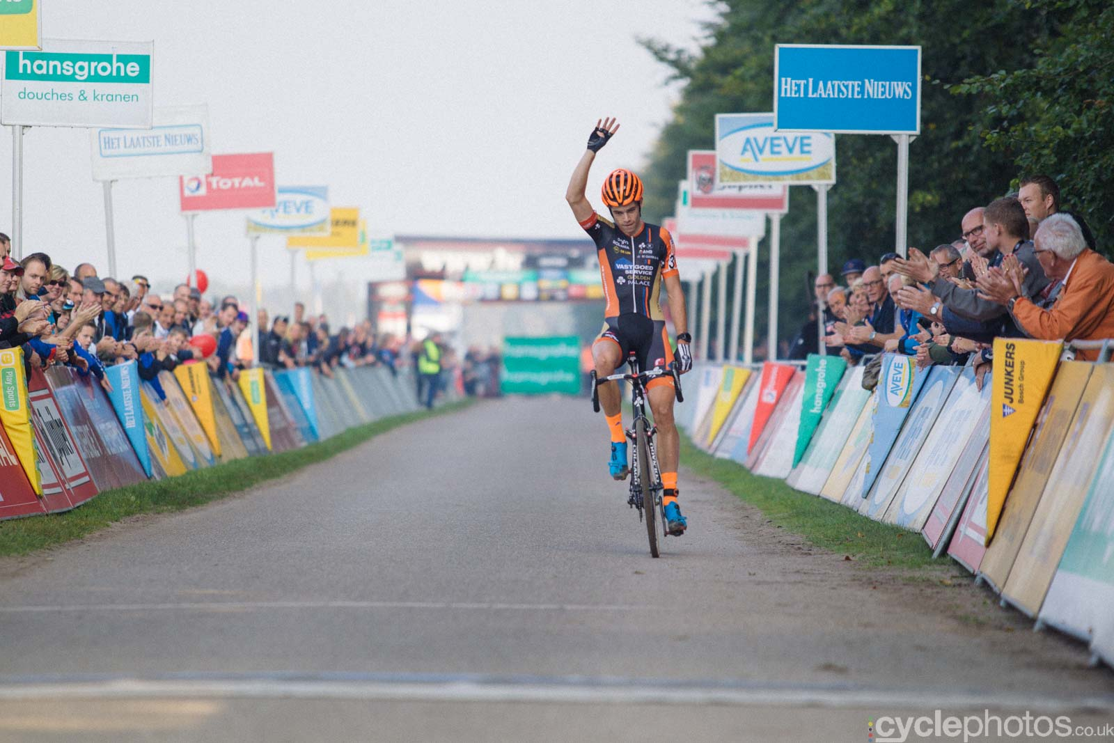 Wout Van Aert rolls over the finish line of the elite men's Superprestige race in Gieten, The Netherlands. All rights reserved. �Balint Hamvas / Cyclephotos