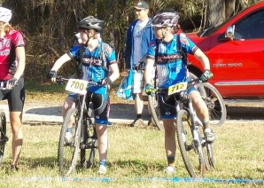 At the start line with my teammate Lauren Hoover at Santos trail, Ocala, FL