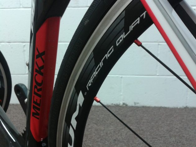 Fulcrum Racing Quattros tuck in tightly to the EMX-525 downtube