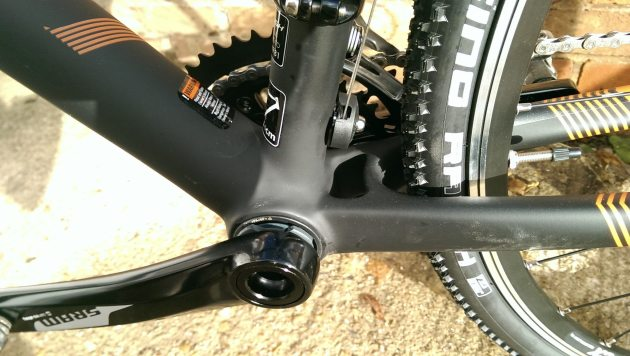 The RX Race uses a PF30 bottom bracket but we are worried about that chainstay bridge