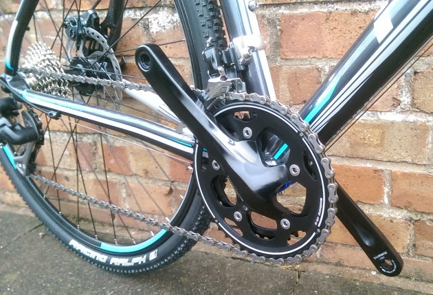 The Shimano CX50 chainset with 46-36 teeth should get you around most cross courses