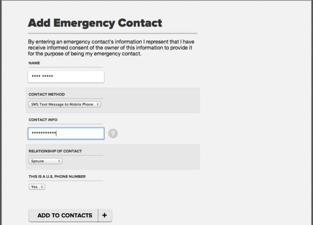 Add your emergency contacts