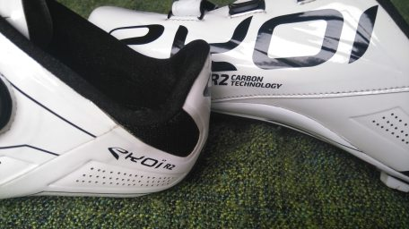 The inside of the Ekoi R2 heel is lined with a grippy material, to hold your foot in place