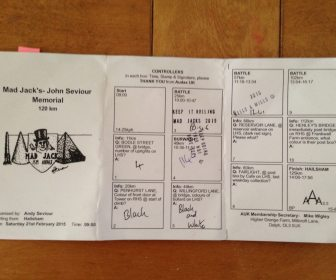 Kepping it simple, no electronic tags, just a paper Brevet card, with questions to check you actually visited the checkpoint. This is from the Mad Jack's ride.