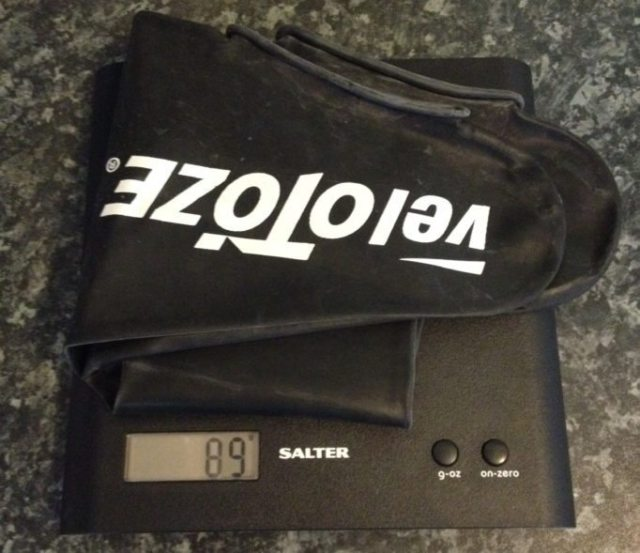 At 89g the Velotoze Tall Shoe Covers are way lighter than a standard overshoe, if that sort of thing bothers you
