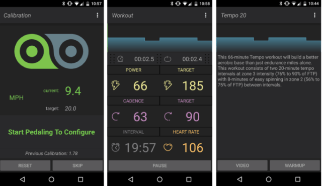 The Kinetic Fit app will set targets for you to maintain during your session