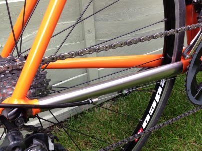 Bare steel chainstay