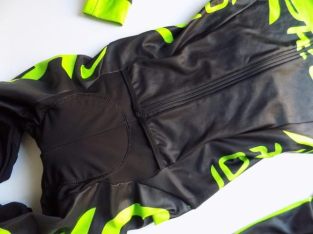 The top of the skinsuit is a like a jacket and the bottom edge makes pee stops easier, for the boys