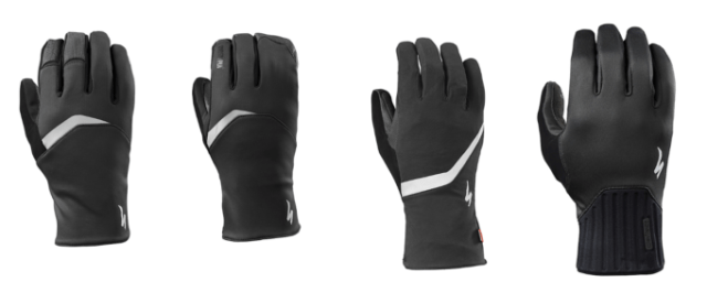 Left to right are Specialized's Element 1.5, Element 2.0, Deflect H2O and Deflect gloves. Winter sorted.