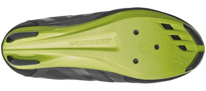 The sole is made from a nylon composite and is drilled to take three bolt type cleats