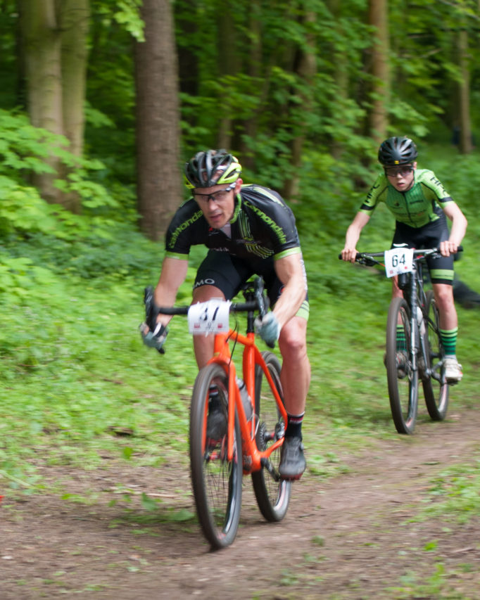 The wooded descent is fast, with a tight exit